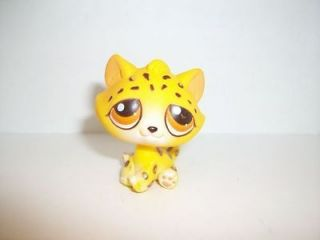 littlest pet shop yellow and brown spotted leopard cat 388