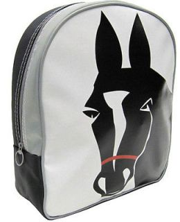 girls horse backpack white with black horse