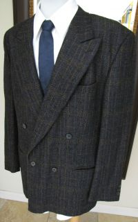 Missoni Uomo Navy Wool Plaid Jacket Sport Coat 42R Double Breasted