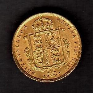 GREAT BRITAIN 1887 SHIELD 1/2/ SOVEREIGN QUEEN VICTORIA ALMOST