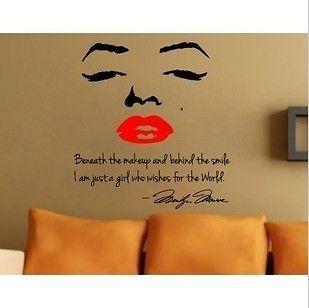 Marilyn Monroe wall decal art letter decor sticker bedroom mural