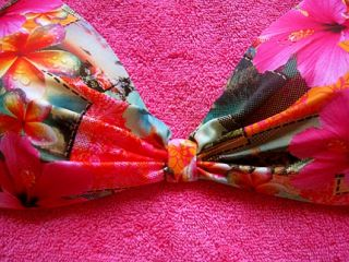 Pink Push Up Bra Top D Cup Bikini Swimsuit Bathing Suit Swimwear M