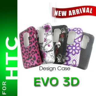 2D Design Hard Case Cover for HTC EVO 3D Rubberized Snap on Protective