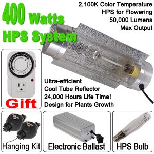 400W HPS Bulb Grow Light Air Cool Tube Hydro System w 400 Watt Digital