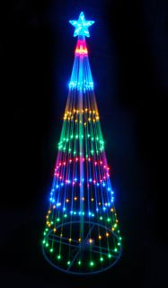 MULTI LED LIGHT SHOW CONE CHRISTMAS TREE YARD ART