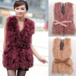 Womens Real Ostrich Fur Sleeveless Winter Warm Long Vest gilet