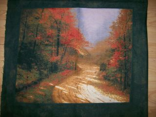 GORGEOUS THOMAS KINKADE COUNTRY ROAD AUTUMN IN THE MOUNTAINS FABRIC