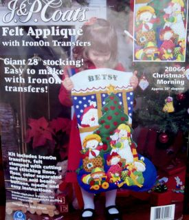 Coats Giant Stocking Kit 28 Felt Applique with Iron On Transfers