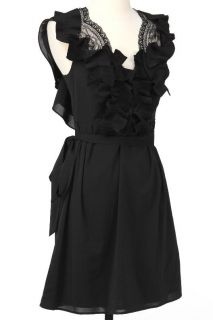 New ABS by Allen Schwartz Womens Ruffled Lace Back Dress in Black US