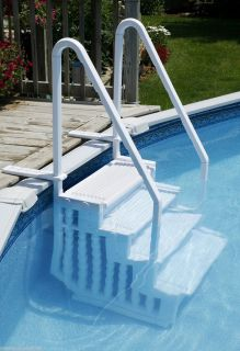 NEW EASY POOL STEPS ENTRY SYSTEM ABOVE GROUND SWIMMING POOLS W DECK