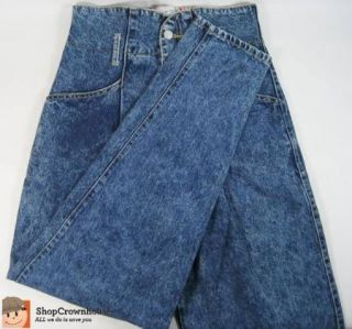 Vtg 80s IIT Festival Jeans Acid Wash Button Fly Tapered High Waisted