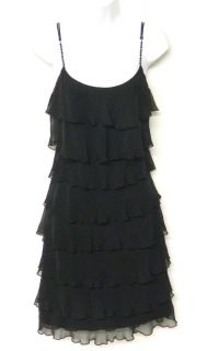 ABS Allen Schwartz Size 4 Black CHIFFON Ruffle TIERED Dress Beaded