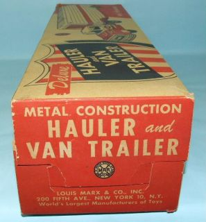 Vintage Marx Ace Delivery Truck Van Trailer Tin Toy Box