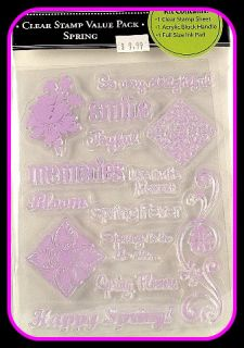 PAPER COMPANY KIT SPRING CLEAR STAMP SET FULL INK PAD & ACRYLIC BLOCK