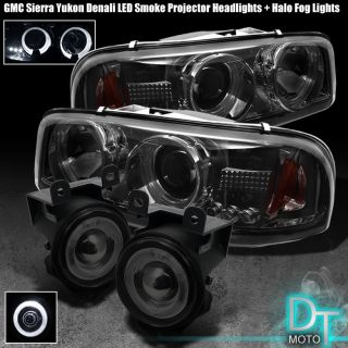 01 Sierra Yukon Denali Smoked Headlights Projector Fog