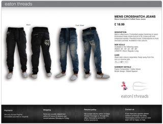Mens Crosshatch Black Dark Wash Jeans Cuffed Denim Jogger Designer