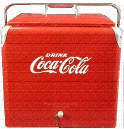 COCACOLA COCA COLA COOLER METAL LID ACTON PROGRESS SODA POP BEVERAGE