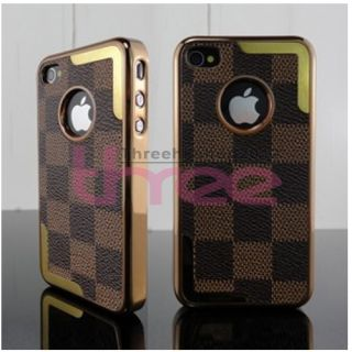 New Luxury Designer Fashion Grid Bumper Skin Case Cover for iPhone 4