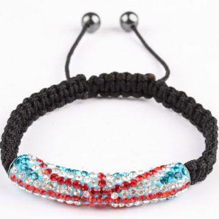 Cute Rhinestone Bead Hand Knitted Adjustable Bangle Bracelet 1PC