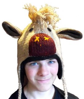 Adult Childs Novelty Costume Horse Hat Beanie Hand Knit Wool Fleece