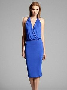 New Marciano Guess Blue Aerin Dress Sexy Open Back Plunge Top Front s