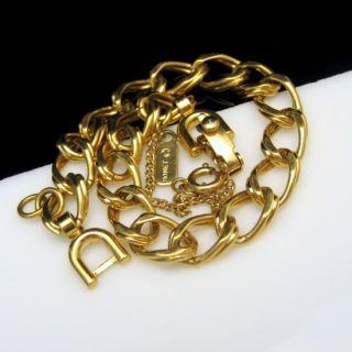 Vintage Chunky Goldtone Scored Links Charm Bracelet Statement