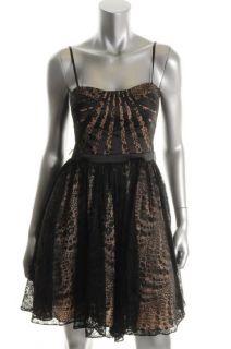 Aidan Mattox Black Lace Strapless A Line Semi Formal Dress 2 BHFO