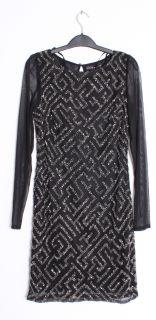 Aidan Mattox Beaded Sheer Long Sleeve Black LBD Boatneck Mini Dress