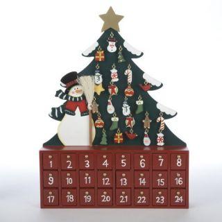 Snowman and Christmas Tree Wooden Christmas Advent Calendar