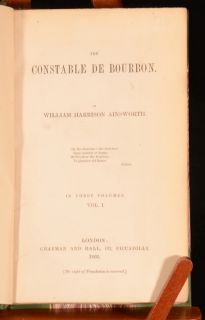 The Constable De Bourbon William Harrison Ainsworth Historical FIRST