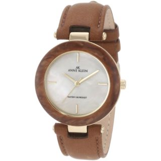 AK Anne Klein Womens 10 9852CMHY Gold Tone Honey Brown Leather Strap