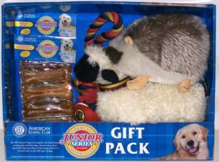 NIB AMERICAN KENNEL CLUB AKC Junior Series DOG GIFT PACK toys, rawhide