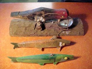 Vintage 9 Harvey Case Fishing Decoy Ice Fishing Antique Spear Fishing