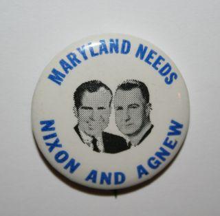 1968 Nixon and Agnew Jugate Maryland Campaign Button Political Pinback