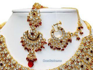 Jodha Akbar Indian Bollywood Wedding Jewelry Burgundy