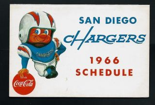 1966 SAN DIEGO CHARGERS AFL Football Coca Cola POCKET SCHEDULE