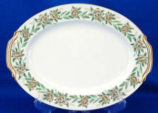 Noritake ALAMEDA 520 Oval Serving Platter 11 75 Gray Yellow Roses Gold