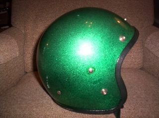 vintage snowmobile skiroule coleman green metal flake open face helmet