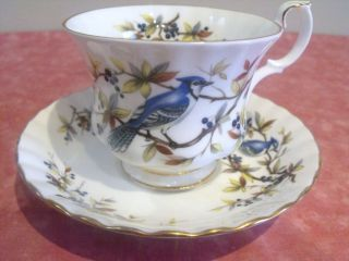 STUNNING ROYAL ALBERT TEA CUP SAUCER BLUE JAY BONE CHINA ENGLAND