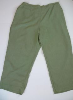 ALFRED DUNNER Pants Slacks Womens Sz 20W Green Microfiber Plus Size