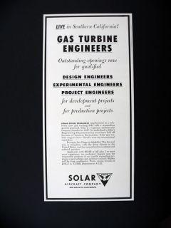 Solar Aircraft Gas Turbine Engineers Careers Jobs 1956 print Ad