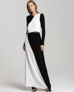 Alice Olivia New Chloe Black White Colorblock Belted Silk Maxi Casual