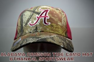 NCAA Alabama Crimson Tide Mossy Oak Camo Hat Cap New Adjustable Camo