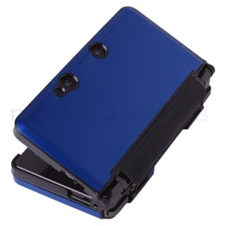 Blue Metallic Style Hard Case Cover LCD Screen Protector for Nintendo