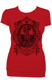 Steady True Till Death T Shirt Retro Punk Horror Skeleton Gothic Dead