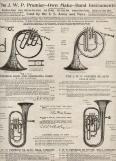 Advertisement for French Horn Tuba Alto Horn Made by J w Pepper