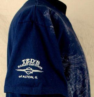 Ted Harley Davidson Alton IL Skull Spiderweb T Shirt XL