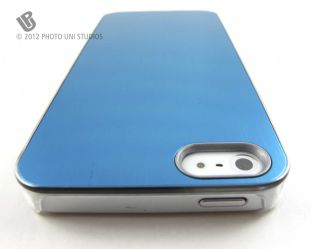 Blue Aluminum Clear Side Rear Hard Case Cover Apple iPhone 5 6th Gen
