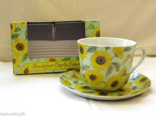 Kent Pottery Sunflower Coffee Cup Mug Saucer New Box