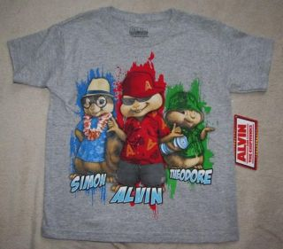 Alvin and The Chipmunks Simon Alvin Theodore Gray Tee T Shirt Sz 6 7